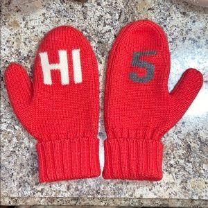 "Kate Spade 100% wool ""Hi 5"" cuffed red mittens"